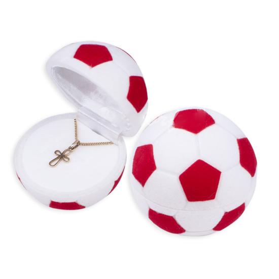 Piros és fehér színű, focilabda alakú ékszertartó doboz