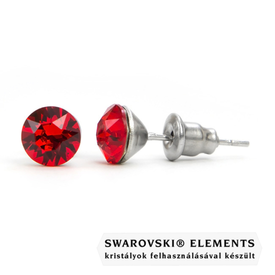 925 ezüst fülbevaló ékszer Swarovski® kristállyal - Light Siam
