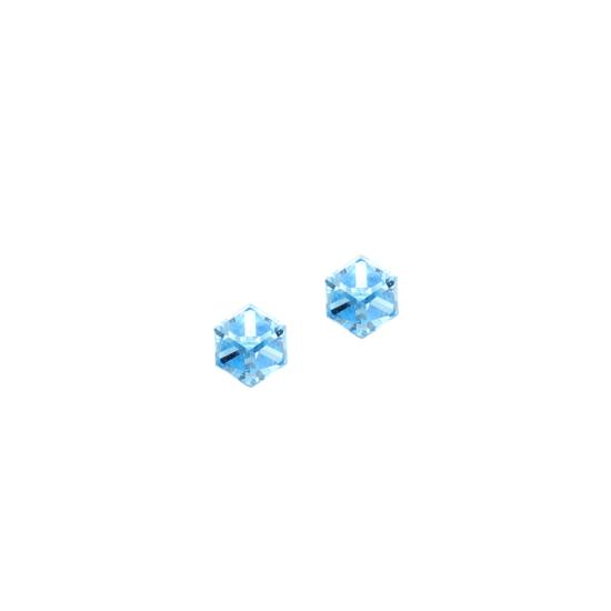 Swarovski ® kristályos nemesacél fülbevaló - Cubes Light Blue