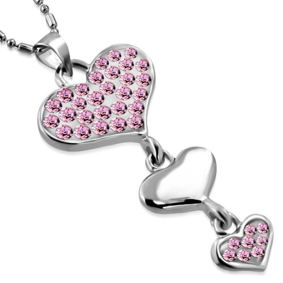 Szív alakú, rózsaszín kristállyal ékesített női nyaklánc