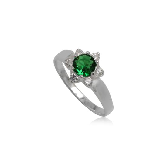 Ezüst gyűrű zöld és fehér cirkónia kristállyal