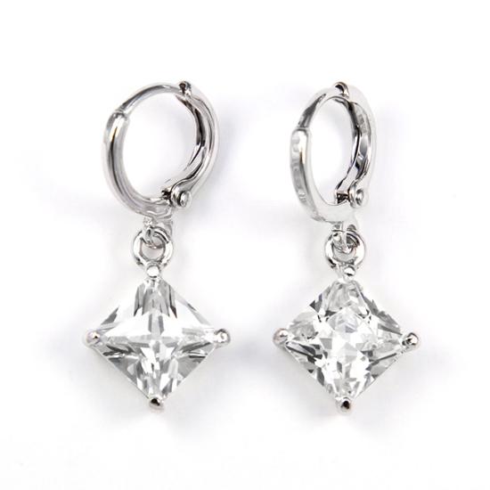 Shelly Swarovski kristályos fülbevaló - Áttetsző négyzet