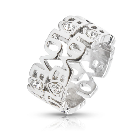 LOVE feliratos gyűrű Swarovski kristállyal-8