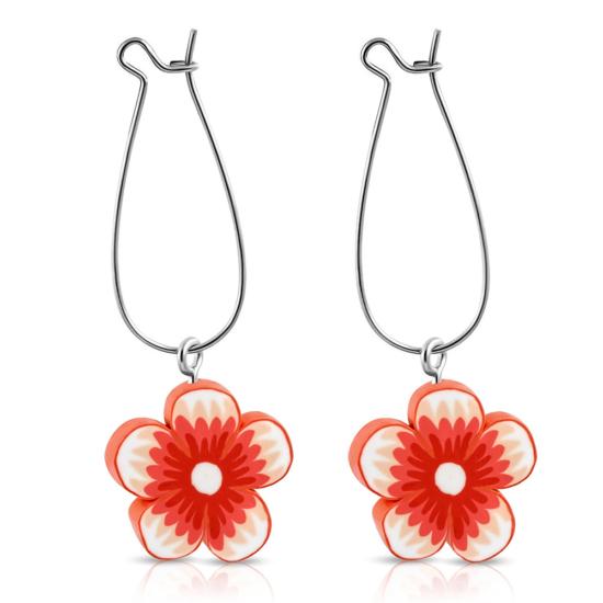 Piros virágos bizsu fülbevaló