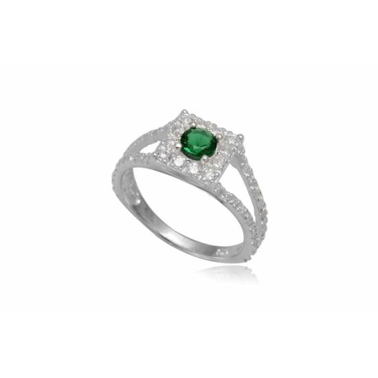 Ezüst gyűrű sötét zöld cirkónia kristállyal