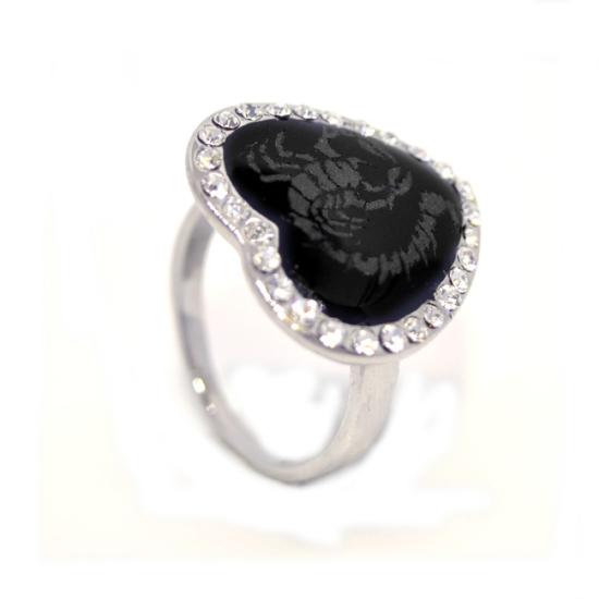 Szív alakú, skorpiós, Swarovski kristályos gyűrű