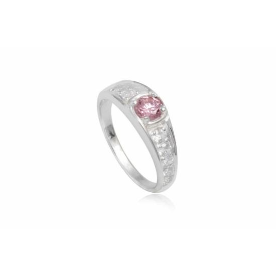 Ezüst gyűrű pink cirkónia kristállyal