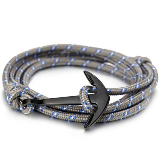 Szürke-kék színű horgonyos karkötő
