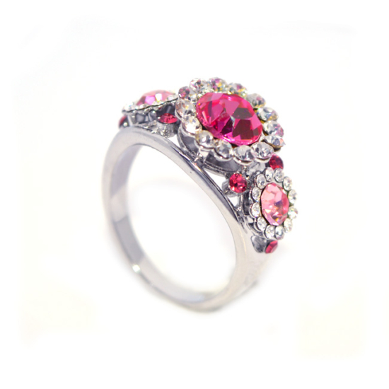 Rózsaszín -Pink Swarovski kristályos gyűrű-6