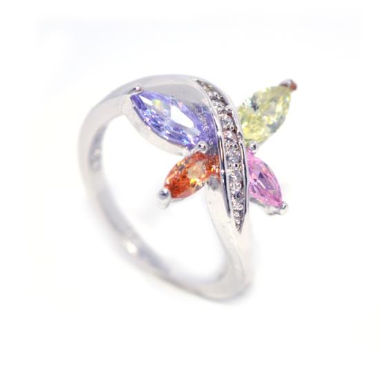 Pillangós gyűrű Szines Swarovski kristállyal