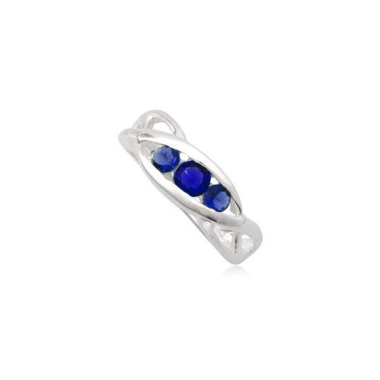 Ezüst gyűrű sötét kék cirkónia kristállyal-8