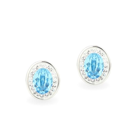 Swarovski ® kristályos ezüst fülbevaló -Brilliance Oval Türkiz