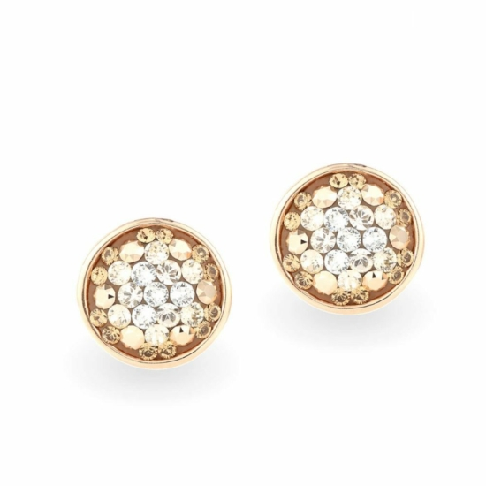 Swarovski ® kristályos ezüst fülbevaló - Twilight Orbit Gold