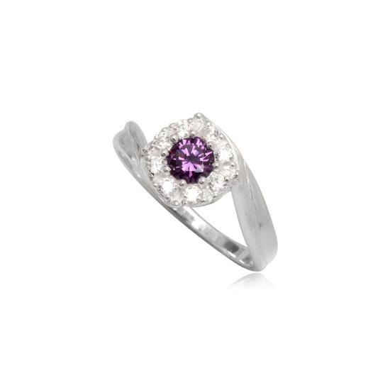 Ezüst gyűrű lila és fehér cirkónia kristállyal