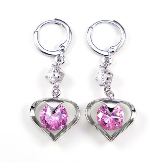 Ariana Swarovski kristályos fülbevaló - Pink szív