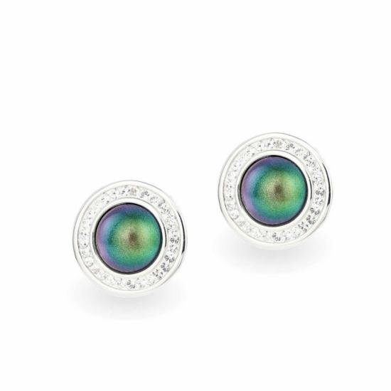 Swarovski ® kristályos gyöngy ezüst fülbevaló - Pearl Vitrail