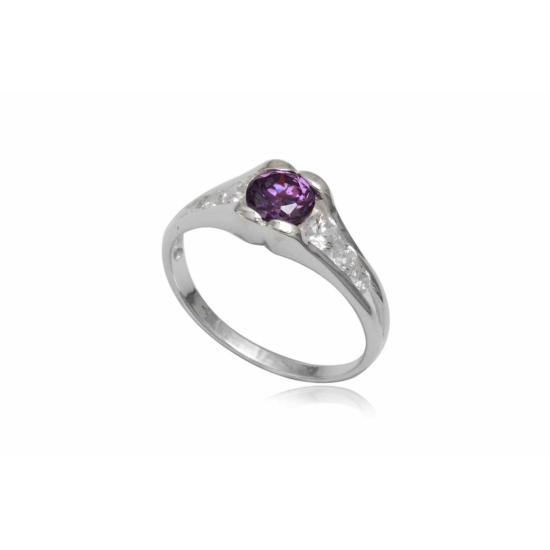 Ezüst gyűrű lila cirkónia kristállyal-8