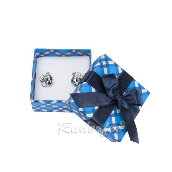 Kék színű ékszertartó doboz, masni dísszel