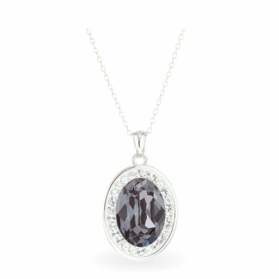 Swarovski® kristályos ezüst nyaklánc - Brilliance Oval Fekete