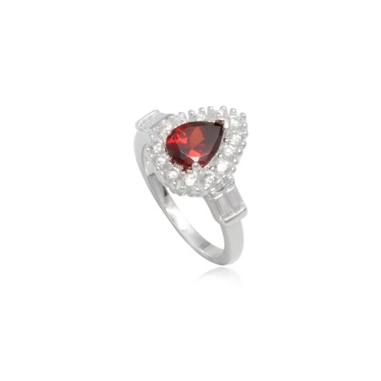 Ezüst gyűrű piros cirkónia kristállyal