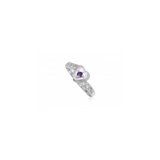 Szív alakú ezüst gyűrű lila cirkónia kristállyal-8