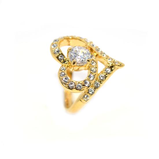 Szív alakú Swarovski kristályos gyűrű, arany színű-6