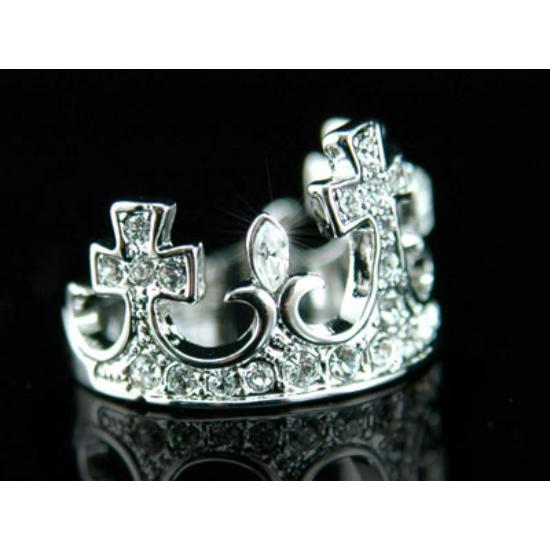 Korona alakú, Swarovski kristályos gyűrű-7