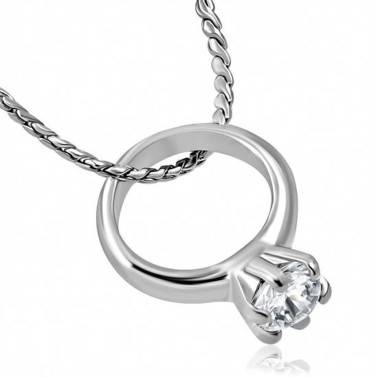 Ezüst színű nyaklánc, cirkónia kristályos gyűrű medállal