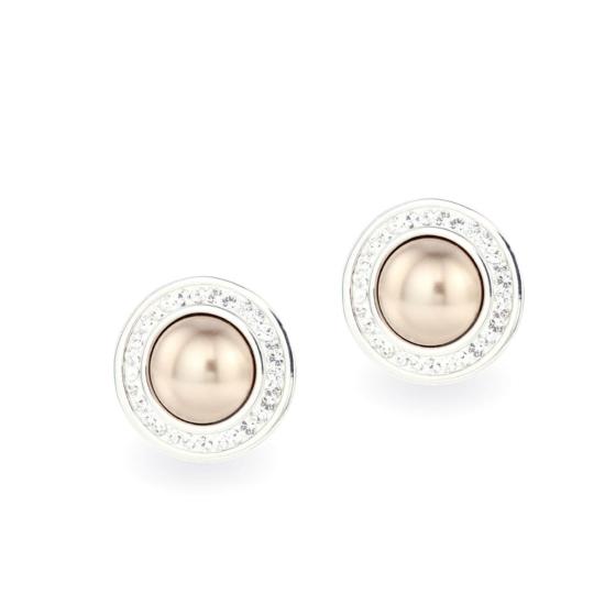 Swarovski ® kristályos gyöngy ezüst fülbevaló - Pearl Bronze