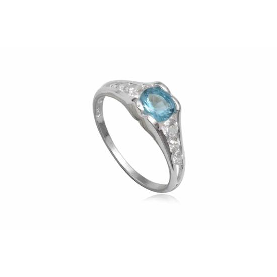 Ezüst gyűrű kék cirkónia kristállyal