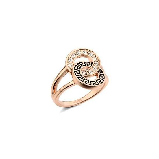 Aranyozott, kristályos gyűrű görög mintával