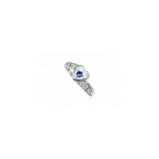 Szív alakú ezüst gyűrű sötétkék cirkónia kristállyal-7