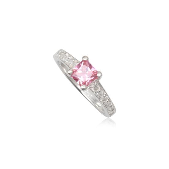 Ezüst gyűrű rózsaszín cirkónia kristállyal