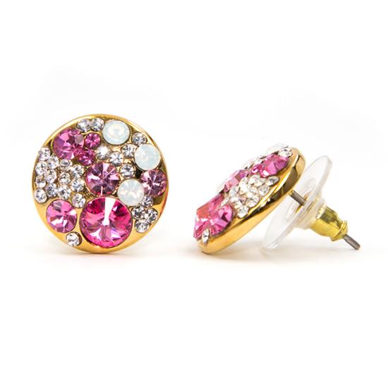 Liwa Swarovski kristályos fülbevaló - Pink kerek
