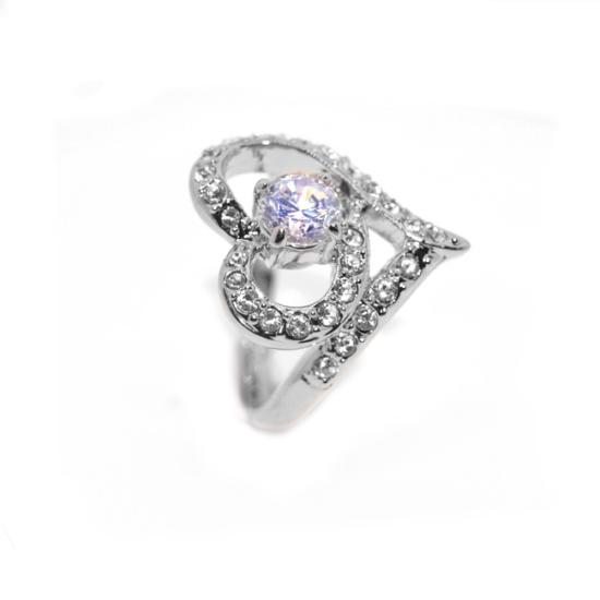 Szív alakú Swarovski kristályos gyűrű, ezüst színű-8