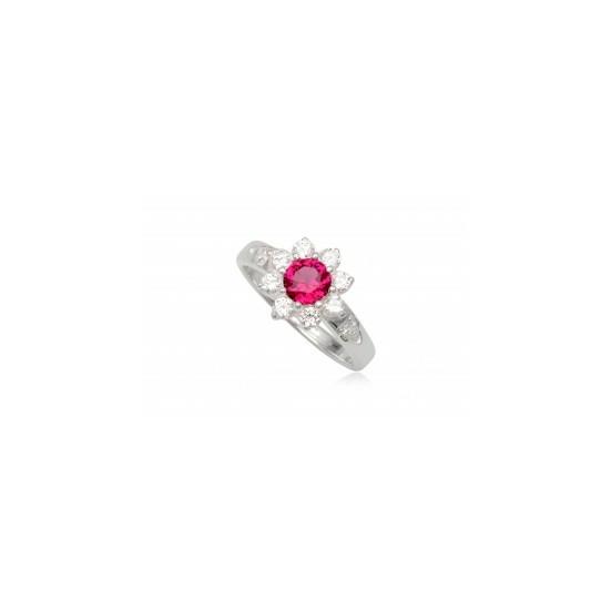Ezüst gyűrű pink és fehér cirkónia kristállyal-8