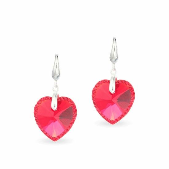 Swarovski® kristályos ezüst fülbevaló - LA MARIA Heart Piros