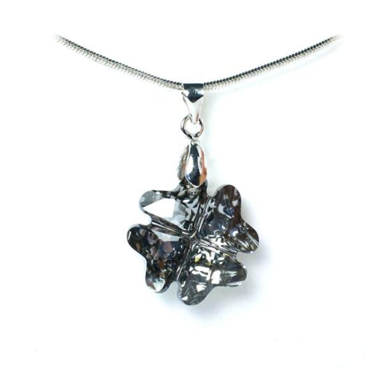 Swarovski® kristályos ezüst nyaklánc - 19 mm - Lóhere - Silver Night - 925 ezüst ékszer