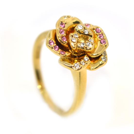 Rózsás Swarovski kristályos gyűrű, arany színű-6