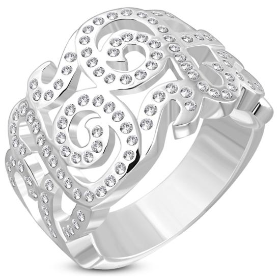 rosie - Ezüst színű, karika gyűrű, kristályokkal díszítve