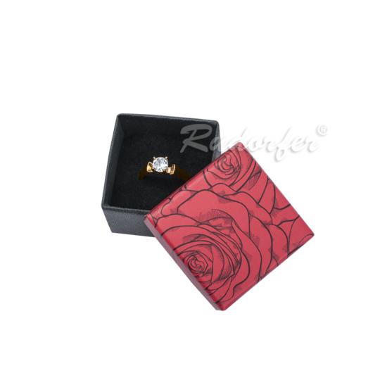Piros színű ékszertartó doboz, rózsa mintával gyűrű, fülbevaló