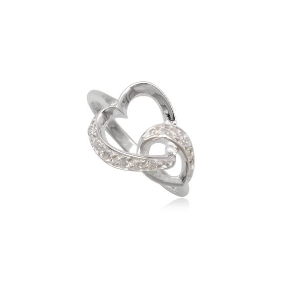 Szív alakú ezüst gyűrű fehér cirkónia kristállyal-7