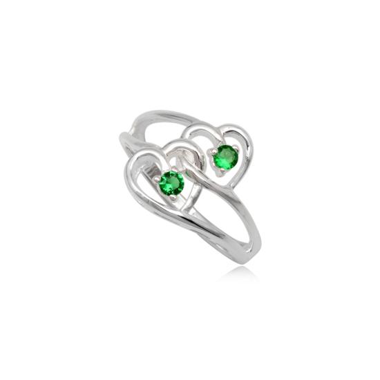 dupla szives ezüst gyűrű zöld cirkónia kristállyal-7
