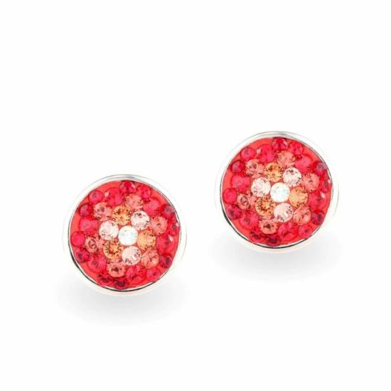 Swarovski ® kristályos ezüst fülbevaló - Twilight Orbit Piros