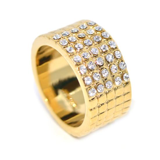 Swarovski kristályos Arany színű széles gyűrű,- 6