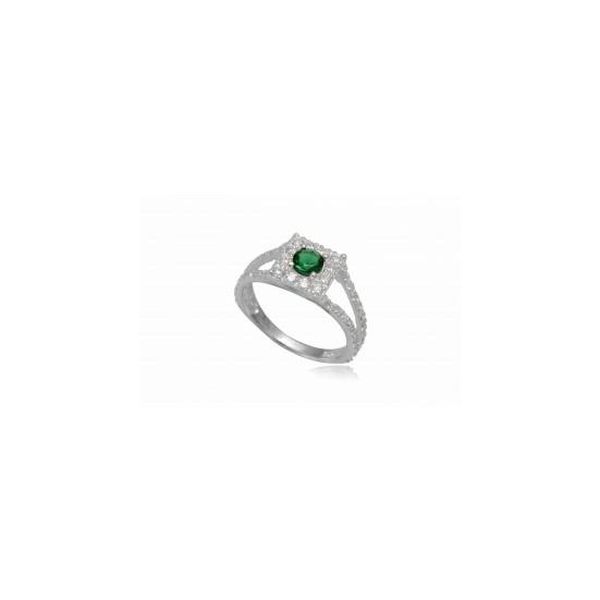 Ezüst gyűrű sötét zöld cirkónia kristállyal-6