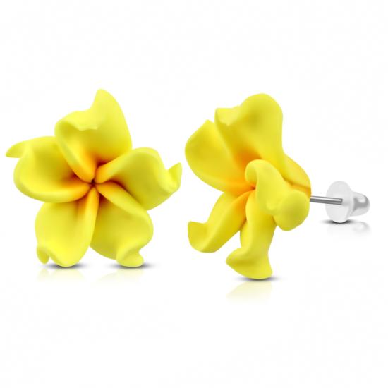 Sárga-narancs pluméria virág fülbevaló