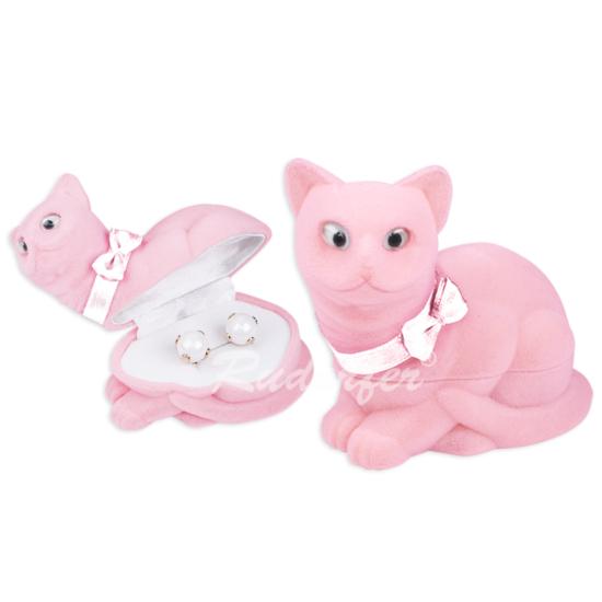 Rózsaszín, cica alakú ékszertartó doboz