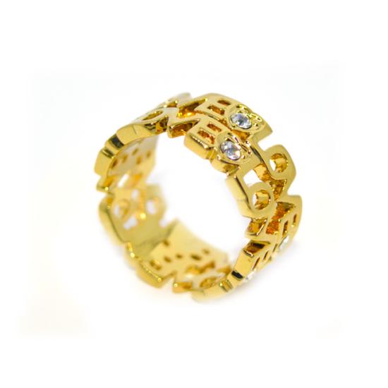 LOVE feliratos gyűrű Swarovski kristállyal, arany színű-8