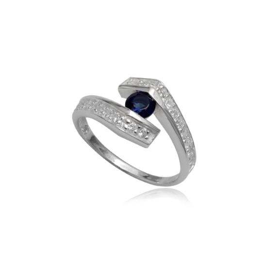 Ezüst gyűrű sötétkék cirkónia kristállyal